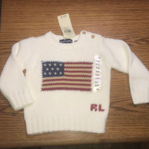 Ralph Lauren white flag sweater size 3-12 mos NWT